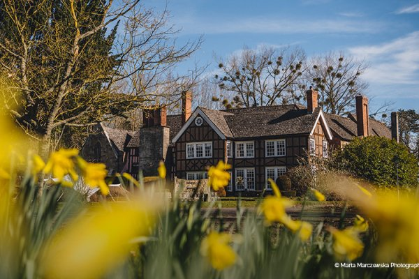 Pretty spring daffodils surround Brinsop Court country house wedding venue in Herefordshire | CHWV