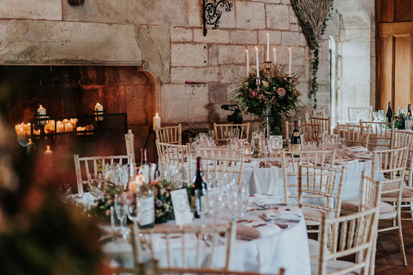 Set up for a wedding reception at Brinsop Court country house wedding venue in Herefordshire | CHWV