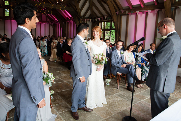 A wedding ceremony at Brookfield Barn wedding venue in West Sussex | CHWV