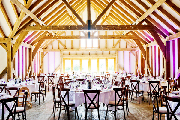 Set up for a wedding reception at Brookfield Barn wedding venue in West Sussex | CHWV