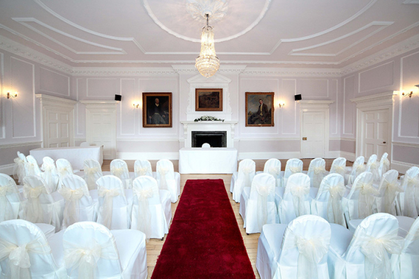 Old Hall set up for a ceremony at Brooksby Hall wedding venue in Leicestershire | CHWV