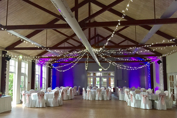 Villiers set up for an evening reception at Brooksby Hall wedding venue in Leicestershire | CHWV