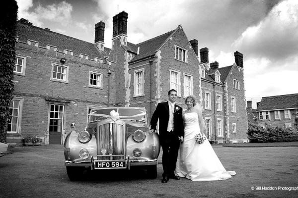 In the courtyard at Brooksby Hall wedding venue in Leicestershire | CHWV
