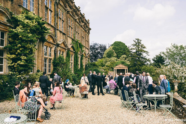 Drinks reception in the grounds at Brympton House