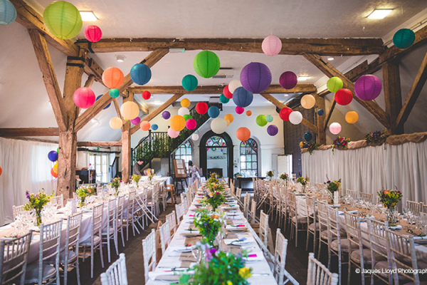 Set up for a wedding breakfast at Bury Manor Barn wedding venue in West Sussex | CHWV