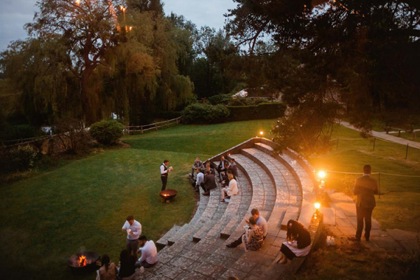 The gardens in the evening at Bury Manor Barn wedding venue in West Sussex | CHWV