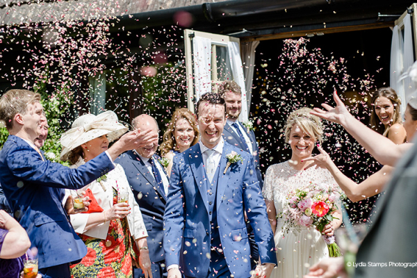 Just married at Clock Barn in Hampshire