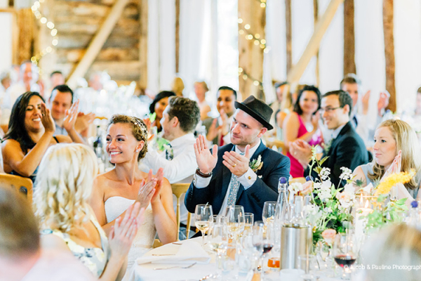 A wedding reception at Clock Barn in Hampshire