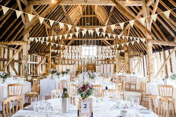 Set up for a wedding reception at Clock Barn in Hampshire