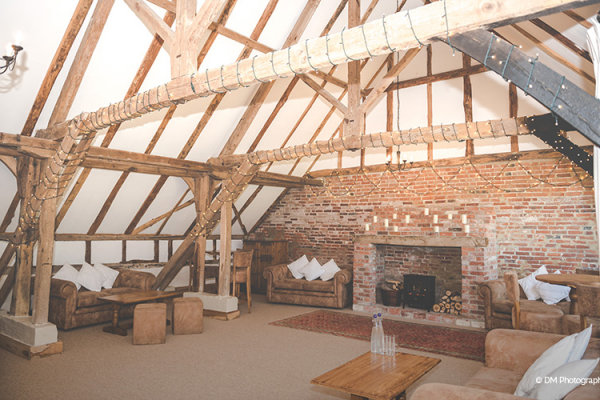 The lounge area at Clock Barn in Hampshire