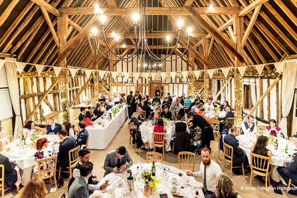 Set up for a wedding reception at Clock Barn in Hampshire | CHWV