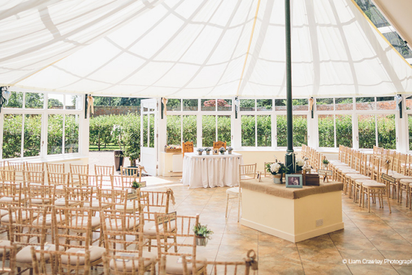 Set up for a ceremony at Combermere Abbey wedding venue in Shropshire | CHWV