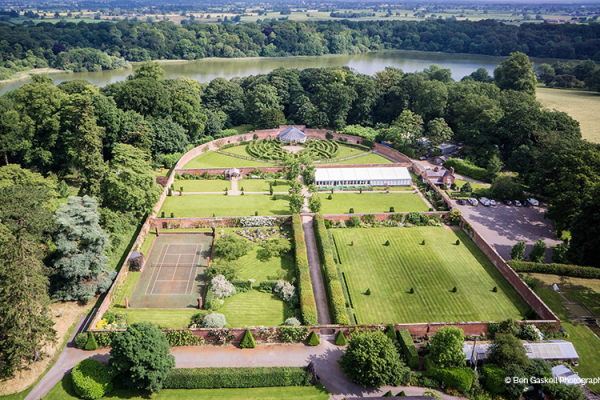An aerial view of Combermere Abbey wedding venue in Shropshire | CHWV
