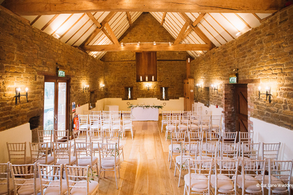 Set up for a wedding ceremony at Crockwell Farm wedding venue in Northamptonshire | CHWV