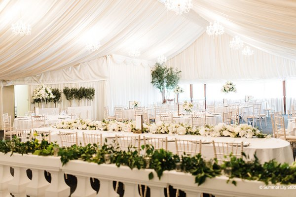 Set up for a wedding breakfast at Crockwell Farm wedding venue in Northamptonshire | CHWV