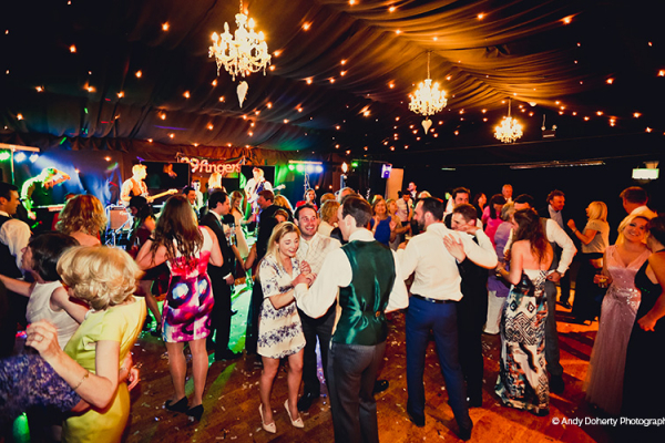 Guests on the dancefloor at Crockwell Farm wedding venue in Northamptonshire | CHWV