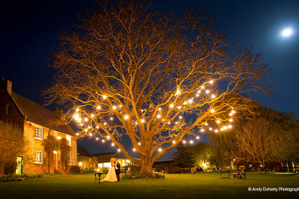 Tree lit up with fairy lights at Crockwell Farm wedding venue in Northamptonshire | CHWV