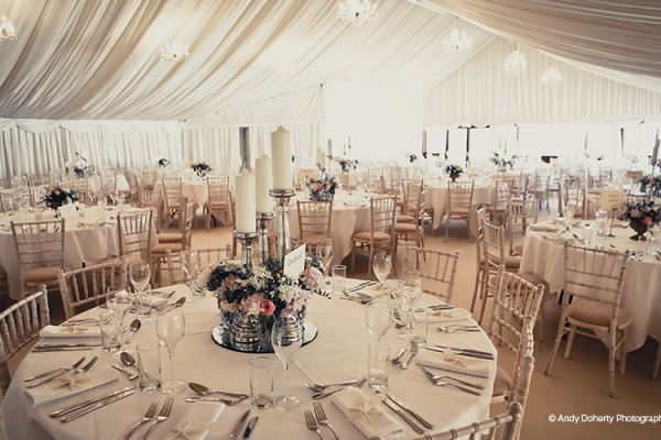 Set Up For A Wedding Reception In The Marquee At Crockwell Farm Northamptonshire