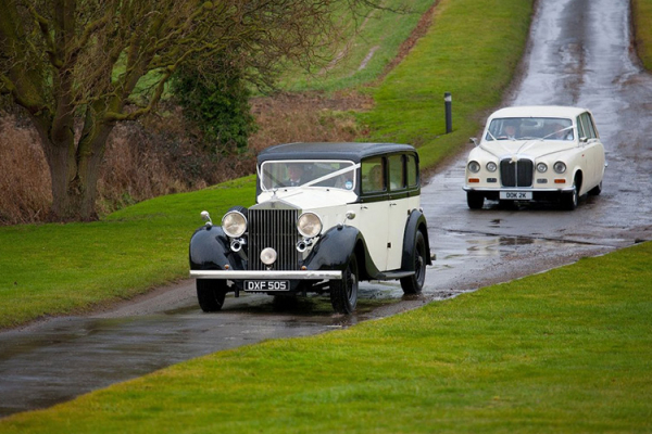 Classic wedding transport at Crondon Park Barn wedding venue in Essex | CHWV