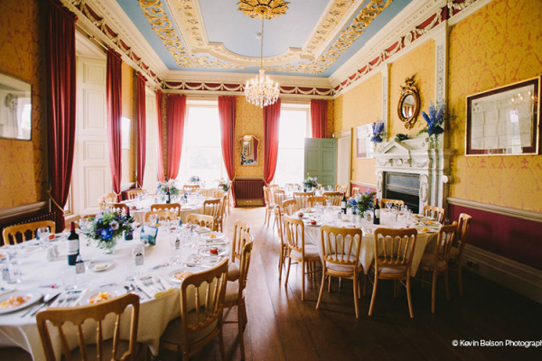 Set up for a wedding breakfast at Crowcombe Court wedding venue in Somerset | CHWV