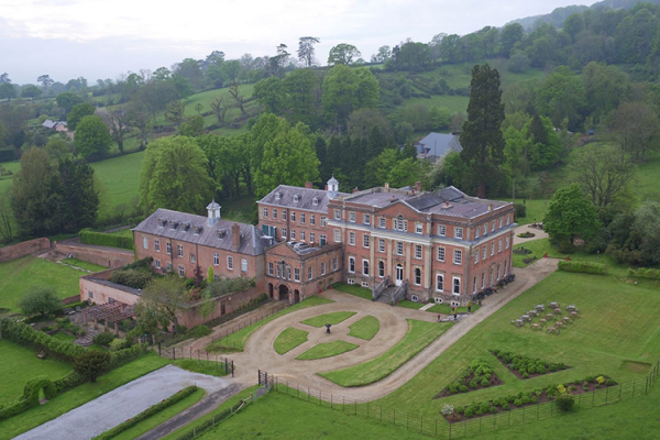 An aerial view of Crowcombe Court wedding venue in Somerset | CHWV