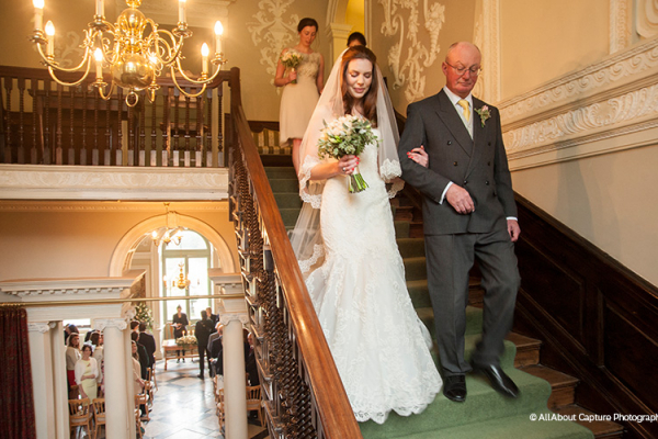 Walking to the ceremony at Crowcombe Court wedding venue in Somerset | CHWV