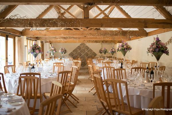 Set up for a wedding reception at Curradine Barns wedding venue in Worcestershire | CHWV