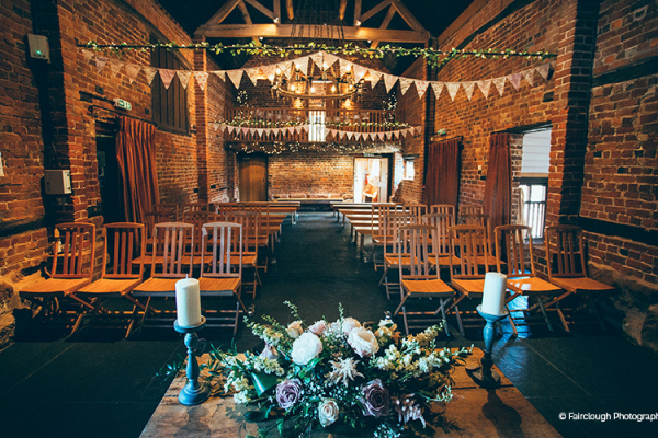 Set up for a wedding ceremony at Curradine Barns wedding venue in Worcestershire | CHWV