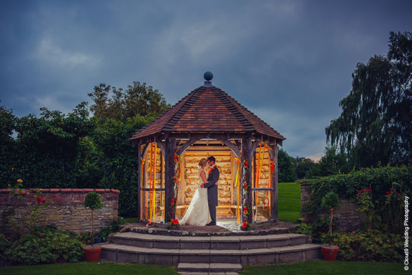The pagoda in the evening at Delbury Hall wedding venue in Shropshire | CHWV