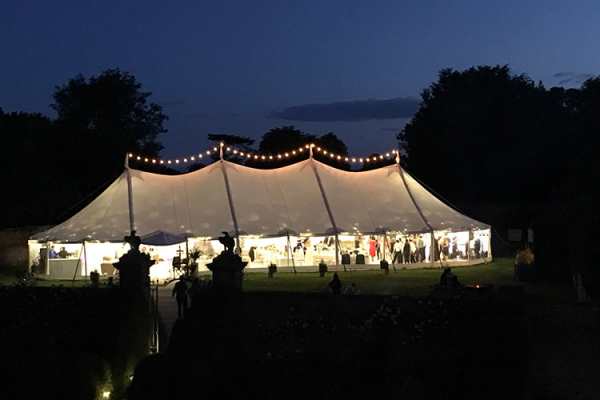 The marquee in the evening at Dorfold Hall wedding venue in Cheshire | CHWV