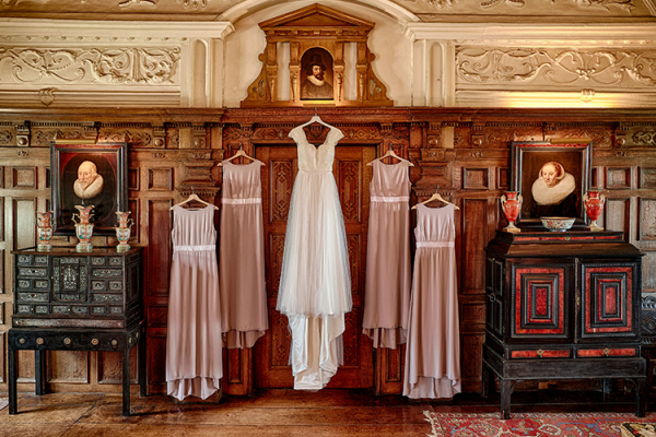 Bride and bridesmaids dresses at Dorfold Hall country house wedding venue in Cheshire | CHWV