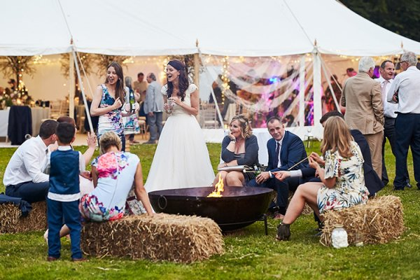 Straw bales and a firepit at Dorfold Hall country house wedding venue in Cheshire | CHWV