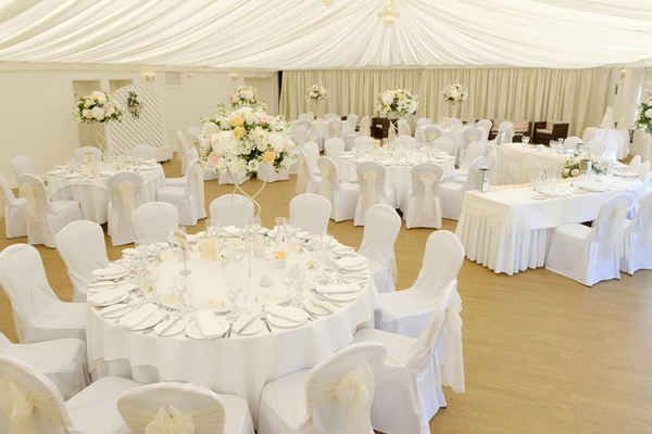 Set up for an outdoor wedding breakfast at Fennes country house wedding venue in Essex | CHWV