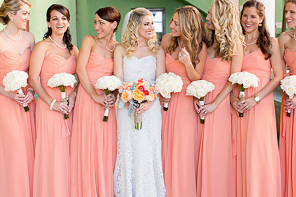Peach wedding colour scheme wedding themes ideas chwv wedding ideas by colour peach bridesmaid dresses junglespirit Gallery