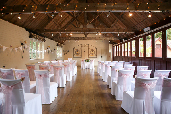 Set up for a wedding ceremony at The Five Arrows wedding venue in Buckinghamshire | CHWV
