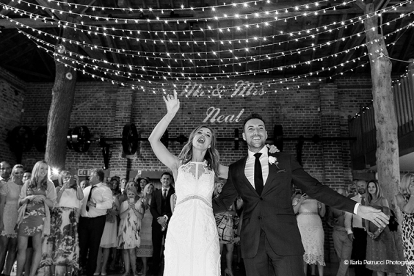 A first dance in The Mill Barn at Gaynes Park barn wedding venue in Essex | CHWV