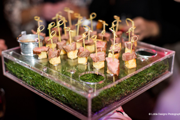 Delicious canapes served at Gisburne Park Estate marquee wedding venue in Lancashire | CHWV