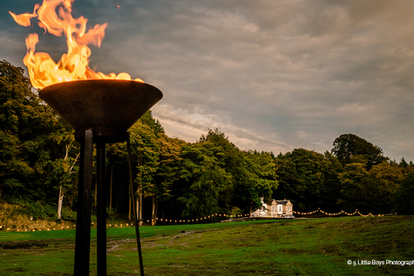 The beautiful grounds in the evening at Gisburne Park Estate marquee wedding venue in Lancashire | CHWV
