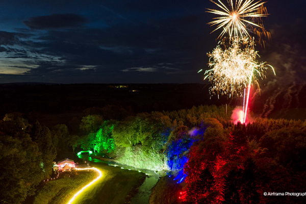 A stunning firework display at Gisburne Park Estate marquee wedding venue in Lancashire | CHWV