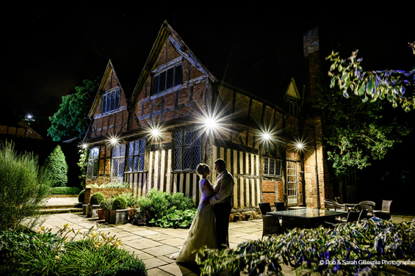 Gorcott Hall wedding venue in Worcestershire at night | CHWV