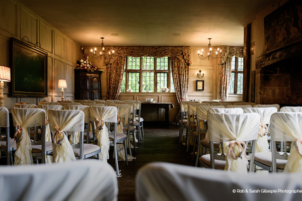 Set up for a wedding ceremony at Gorcott Hall in Worcestershire | CHWV