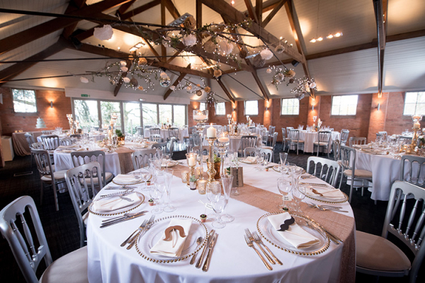 Set up for a wedding reception at Gorcott Hall in Worcestershire | CHWV