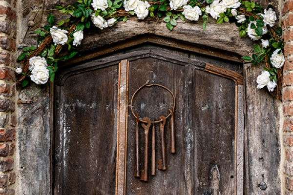 Wooden door in the grounds at Gorcott Hall in Worcestershire | CHWV