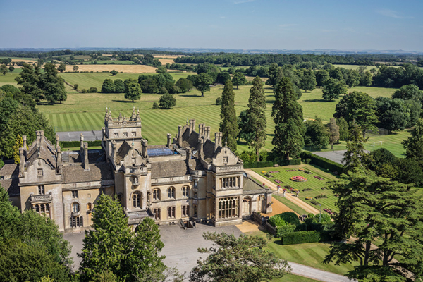 An aerial view of Grittleton House wedding venue in Wiltshire | CHWV