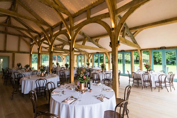 Set Up For A Wedding Breakfast At Hazel Gap Barn Venue In Nottinghamshire