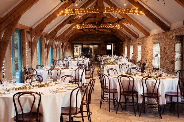 Set up for a wedding breakfast at Healey Barn wedding venue in Northumberland | CHWV