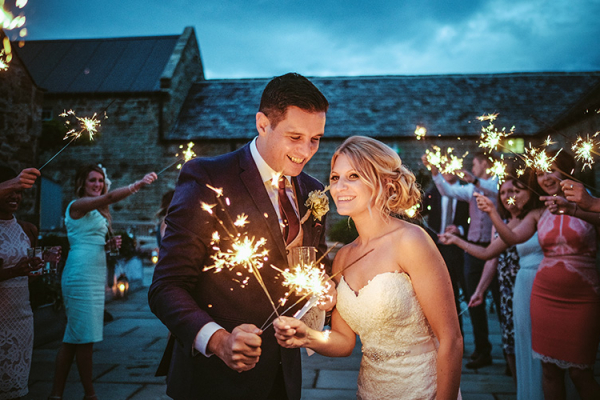 Fireworks in the evening at Healey Barn wedding venue in Northumberland | CHWV
