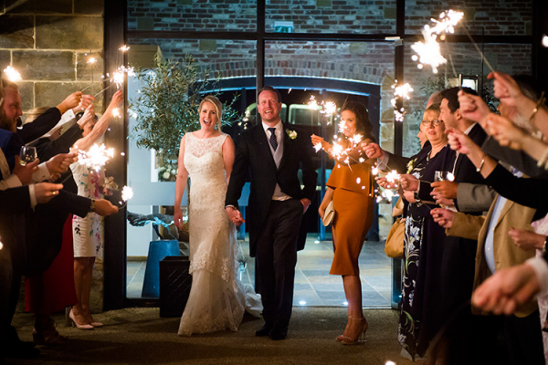 Sparkler send off at Hendall Manor Barn wedding venue in East Sussex | CHWV