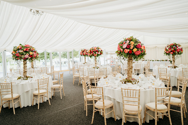 Set up for a wedding breakfast at High House wedding venue in Essex | CHWV