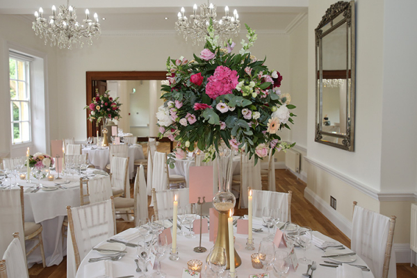 Set up for a wedding breakfast at Holbrook Manor country house wedding venue in Somerset | CHWV